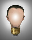 Bright idea man smart light bulb entrepreneur inventor or other guy as head background with clipping path Stock Photo