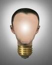 Bright idea man smart light bulb Royalty Free Stock Photo