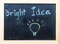 Bright idea words on black board Stock Image