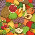 Bright juicy fresh fruits seamless pattern vector illustration Royalty Free Stock Photography