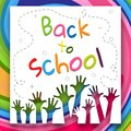 Bright letters Back to school on a bright background of colorful lines and children`s hands Creative design young theme modern