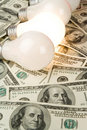 Bright Light Bulb and Dollar Royalty Free Stock Photo