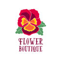 Bright logo for a flower shop. bouquet with pansy, heartsease wedding , floral boutique, beauty salon