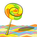 Bright lollipop on a colorful background with shadow vector illustration Stock Photos