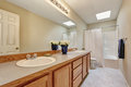 Bright long bathroom interior with large double vanity unit. Royalty Free Stock Photo
