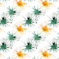 Bright lovely cute beautiful artistic abstract green emerald cadmium blots pattern watercolor