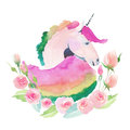 Bright lovely cute fairy magical colorful pattern of unicorn with spring pastel cute beautiful flowers watercolor