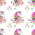 Bright lovely cute fairy magical colorful pattern of unicorns with spring pastel cute beautiful flowers and tropical butterflies