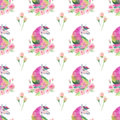 Bright lovely cute fairy magical colorful pattern of unicorns with spring pastel cute beautiful flowers watercolor