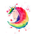 Bright lovely cute fairy magical colorful portrait of unicorn on pink and red on spray background watercolor illustration.