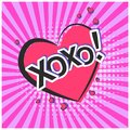 Bright lovely pink speech bubble with XOXO text