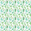Bright lovely sophisticated mexican hawaii tropical floral herbal summer green pattern of a cactus paint like child watercolor and
