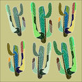 Bright lovely sophisticated mexican hawaii tropical floral herbal summer green seamless pattern of a cactus paint like child on ol