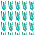 Bright lovely sophisticated mexican hawaii tropical floral herbal summer green seamless pattern of a cactus paint like child vecto