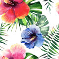 Bright lovely tropical hawaii floral herbal summer pattern of red, pink, blue, yellow tropical flowers hibiscus and green palms l