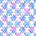 Bright mandala flower geometrical shape abstract grunge colorful splashes texture, watercolor seamless pattern design in blue pink Royalty Free Stock Photo