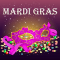 Bright Mardi Gras Poster template with carnival mask, confetti and beads .