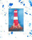 Bright marine red lighthouse on the sea rocks isolated on a white background with blue spray Royalty Free Stock Photo