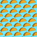 Bright mexican fastfood seamless pattern with tacos on blue background