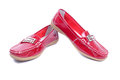 Bright mocassins red glossy closeup Royalty Free Stock Images