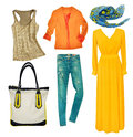 Bright modern clothes set. Collage female clothing wear isolated Royalty Free Stock Photo