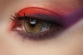 Bright modern eye make-up. Beautiful female eye Stock Photos