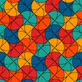 Bright modern print with geometric shapes. Hand fan motif. Colorful seamless pattern. Creative stained glass mosaic.
