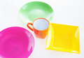 Bright multi colored dishware Royalty Free Stock Photo