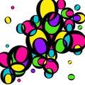 Bright multicolored circles. Yellow, green, pink circles.
