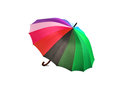 Bright multicolored umbrella on a white background
