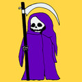 Bright, mystical, cartoon, death with a scythe,purple hoodie, is