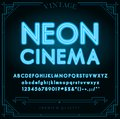 Bright Neon Alphabet Letters, Numbers and Symbols Sign in Vector. Night Show. Royalty Free Stock Photo