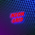 Bright neon grid lines glowing background with 80s style Royalty Free Stock Photo