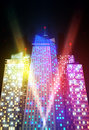 Bright night cityscape colored and vector illustration Royalty Free Stock Photo