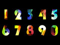 Bright numbers from zero to 9. Figures on a black background. Vector illustration.