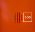 Bright Orange Abstract SOS Speaker Emergency Contract Device Royalty Free Stock Photo