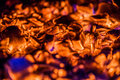 Bright orange embers in a wood stove hot Royalty Free Stock Photos