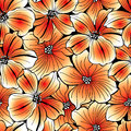Bright orange graphic hibiscus seamless pattern Royalty Free Stock Photo