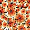 Bright orange graphic hibiscus seamless pattern Royalty Free Stock Photo