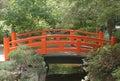 Bright Orange Red Japanese Bridge at Descanso Gardens Royalty Free Stock Photo