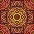 Bright Orange Mandala Pattern ornament on red background