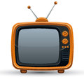 Bright orange retro TV set. Royalty Free Stock Photo