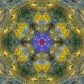 Bright orange teal mandala, yellow blue kaleidoscope effect tile Royalty Free Stock Photo