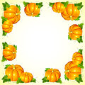 Bright orange vector pumpkins frame with foliage Stock Photos