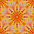 Bright ornament in east stle. Seamless background of circular patterns. Royalty Free Stock Photo