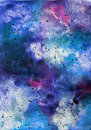 Bright painted watercolor space texture. Hand drawn background with text place