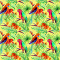 Bright parrot birds, tropical tree, jungle exotic flowers - bird of paradise flower, orchid. Seamless pattern