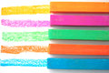 Bright pastel crayons colored close up Royalty Free Stock Photos