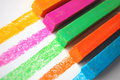 Bright pastel crayons colored close up with lines on an angle Stock Photography