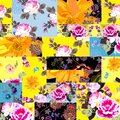 Bright patchwork seamless pattern with flowers. Vector collage design Royalty Free Stock Photo